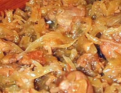 рецепт с фото тушеная капуста с курицей