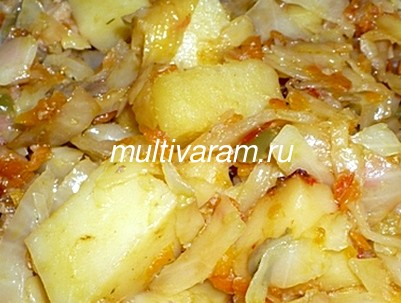 Картошка с капустой в мультиварке фото